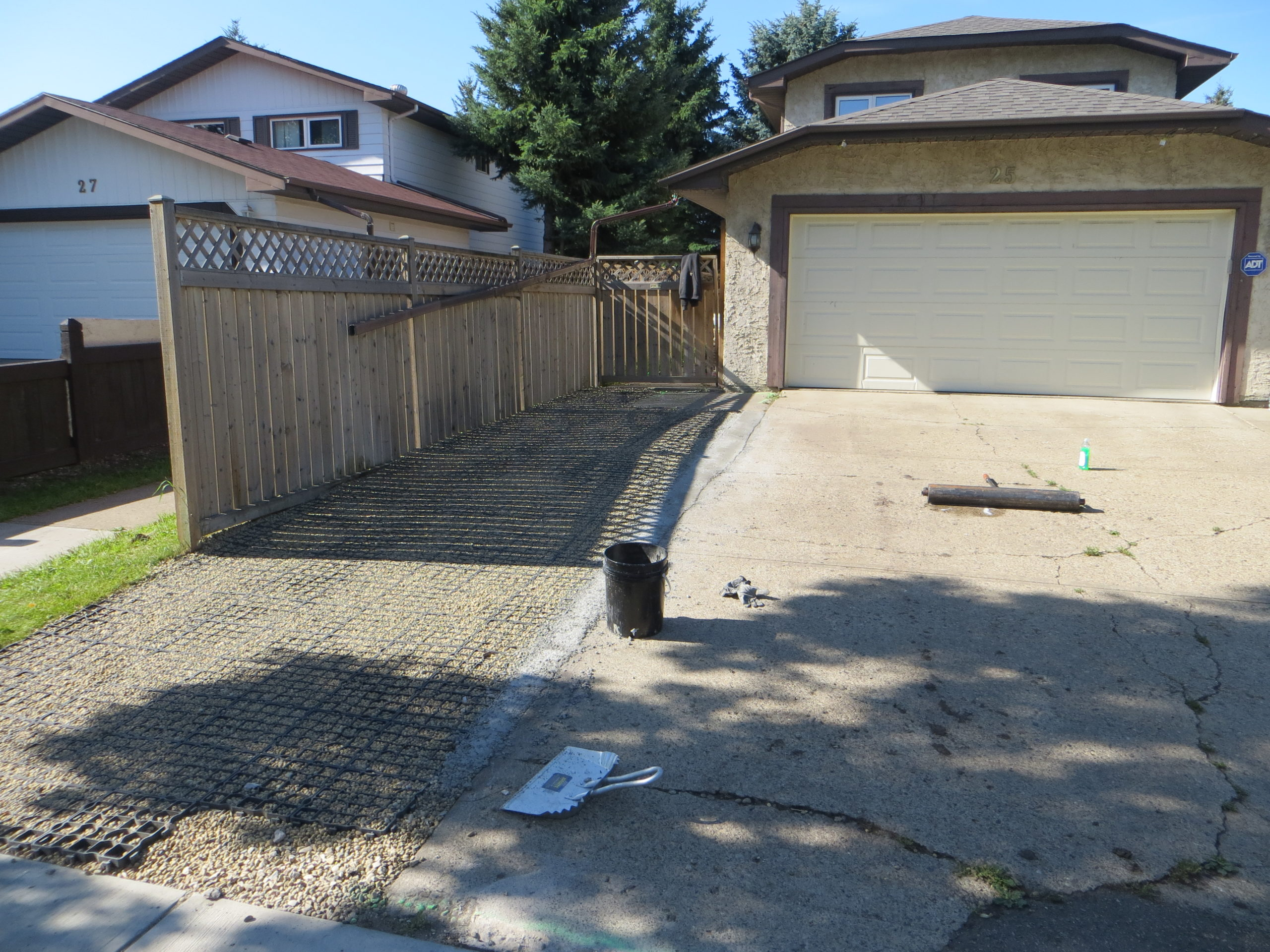 Before Picture Of Old Cracked Driveway Prior To Rubber Paving Edmonton